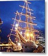 Tall Ships At Night Time Metal Print by Joe Cashin