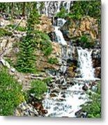 Tangle Falls Along Icefield Parkway In Alberta Metal Print