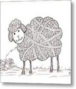 Tangled Sheep Metal Print