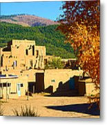 Taos Pueblo South In Autumn Metal Print