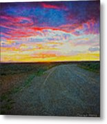 Taos Sunset On Rice Paper Metal Print