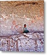 Tarahumara Boy In Painted Cave Near Chihuahua-mexico Metal Print
