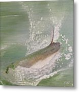 Tarpon Breaking Water Metal Print