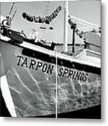 Tarpon Springs Spongeboat Black And White Metal Print