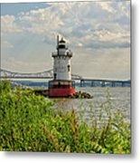 Tarrytown Lighthouse And The Tappan Zee Bridge Metal Print