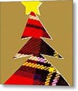 Tartan Christmas Tree On Gold Metal Print