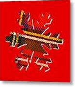 Tartan Snowflake On Red Metal Print