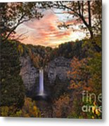 Taughannock Falls Autumn Sunset Metal Print