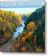 Taughannock River Canyon In Colorful Autumn Ithaca New York Panoramic Photography  Metal Print