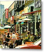 Tavern In The Village Urban Cafe Scene - A Cool Terrace Oasis On A Busy Hot Montreal City Street Metal Print