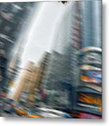 Taxi On Times Square Metal Print