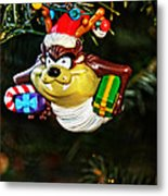 Taz On Christmas Tree Metal Print by Mike Martin