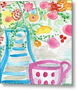 Tea And Fresh Flowers- Whimsical Floral Painting Metal Print