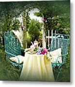 Tea In My Garden Metal Print