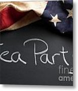Tea Party Political Sign On Chalkboard Metal Print