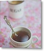 Tea Time In Pink Metal Print