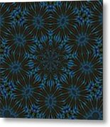 Teal And Brown Floral Abstract Metal Print