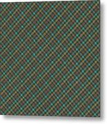 Teal And Green Diagonal Plaid Pattern Fabric Background Metal Print