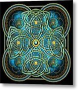 Teal Blue And Gold Celtic Cross Metal Print