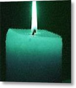 Teal Lit Candle Metal Print