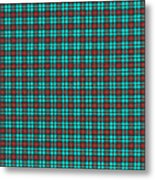 Teal Red And Black Plaid Fabric Background Metal Print