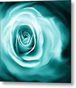 Teal Rose Flower Abstract Metal Print