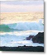 Teal Wave On Golden Waters Metal Print