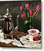 Tea'n Tulips Metal Print