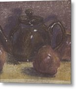 Teapot And Apples Metal Print