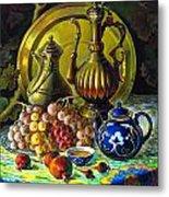 Teapot And Brass Vases Metal Print