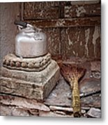 Teapot And Broom Metal Print