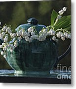 Teapot And Lily Of The Valley Metal Print