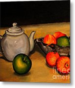 Teapot With Some Fruit Metal Print