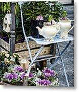 Teapots And Flowers Metal Print