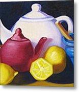 Teapots In Primary Colors Metal Print