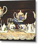 Teapots On Grundge Metal Print