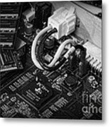 Technology - Motherboard In Black And White Metal Print by Paul Ward