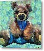 Teddy Bear In Blue Metal Print