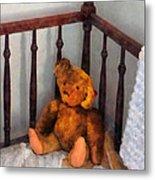 Teddy Bear In Crib Metal Print
