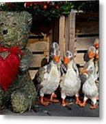 Teddy Bear With Flock Of Stuffed Ducks Metal Print