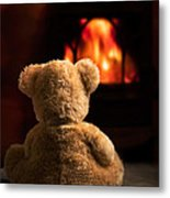 Teddy By The Fire Metal Print
