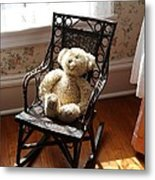 Teddy In Old Fashioned Rocker Metal Print