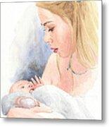 Teen And Baby Sister Watercolor Portrait Metal Print