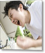 Teenage Boy In Gym Cloth Washing Face And Yelling, Blurred Motion Metal Print