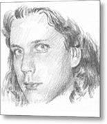 Teenager Pencil Portrait Metal Print