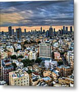 Tel Aviv Skyline Winter Time Metal Print