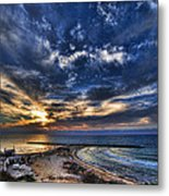 Tel Aviv Sunset At Hilton Beach Metal Print