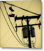 Telephone Pole And Sneakers 1 Metal Print