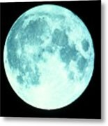 Telescope Photo Of Full Moon From Earth Metal Print