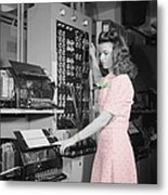 Teletype Girl Metal Print